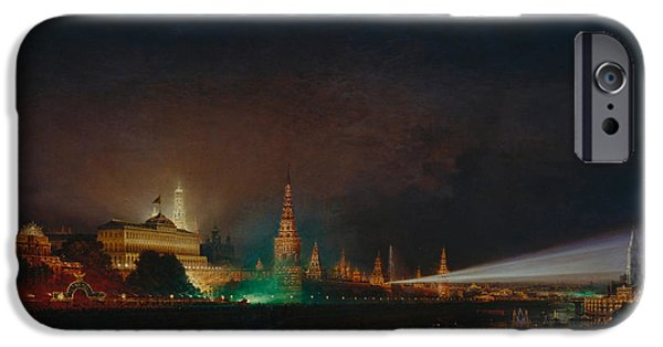Illumination iPhone Cases - Illumination of the Kremlin iPhone Case by Aleksei Petrovich Bogolyubov