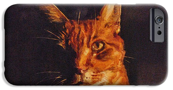 Orange Tabby Paintings iPhone Cases - Illumination iPhone Case by Spencer Meagher