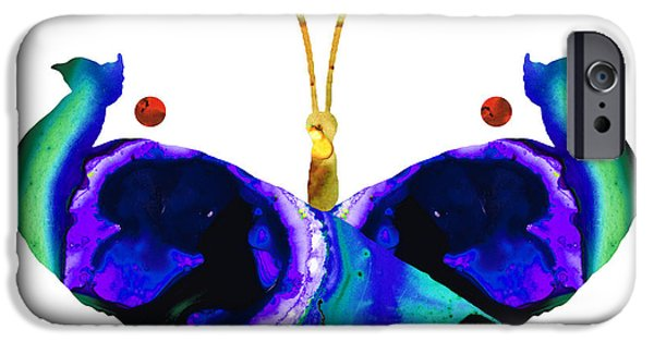 Peacock iPhone Cases - Illusion - Peacock Butterfly Art Painting iPhone Case by Sharon Cummings
