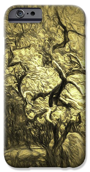 Red Abstract iPhone Cases - Illusion Tree iPhone Case by Jean OKeeffe Macro Abundance Art