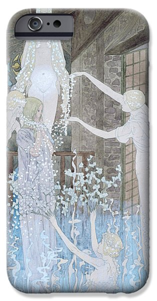 Religious Drawings iPhone Cases - Illustation from Le Reve iPhone Case by Carlos Schwabe