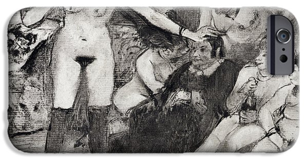 Female Drawings iPhone Cases - Illustration from La Maison Tellier by Guy de Maupassant  iPhone Case by Edgar Degas