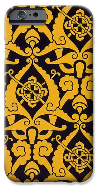 Black Tapestries - Textiles iPhone Cases - Illustration from Studies in Design iPhone Case by Christopher Dresser