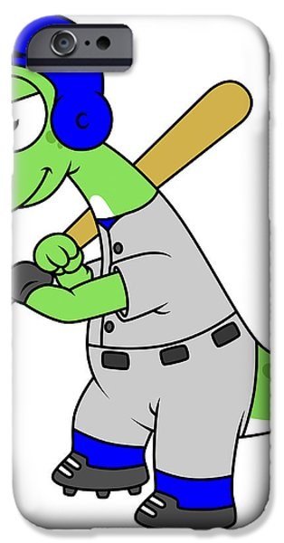 Illustration Of A Brontosaurus Baseball iPhone Case by Stocktrek Images