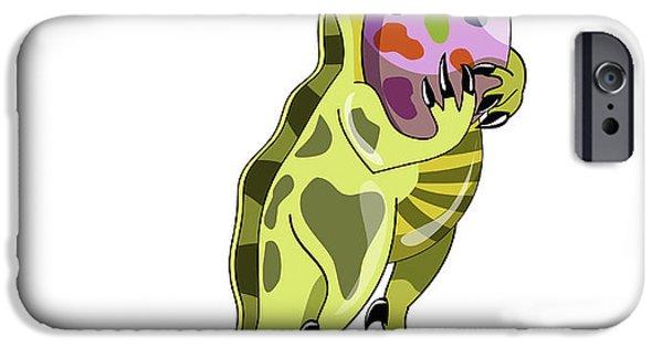 Bonding Digital Art iPhone Cases - Illustration Of A Lambeosaurus Holding iPhone Case by Stocktrek Images