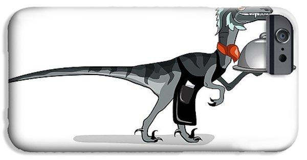 Waiter Digital iPhone Cases - Illustration Of A Raptor Food Waiter iPhone Case by Stocktrek Images