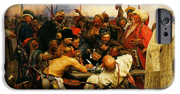 Hofner iPhone Cases - Ilya Repin 3 Reply Of The Zaporozhian Cossacks To Sultan Mehmed Iv Of Ottoman Empire1 iPhone Case by MotionAge Designs
