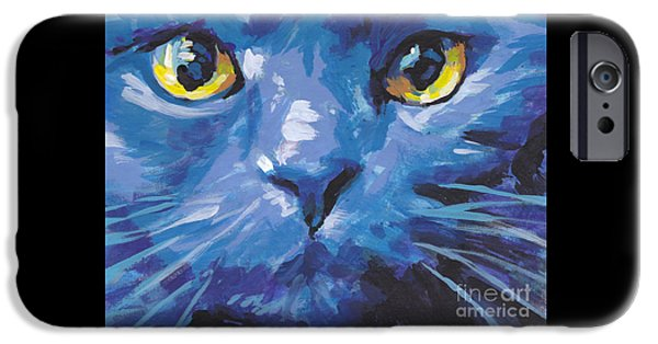 White Cat Art iPhone Cases - Im Blue iPhone Case by Lea