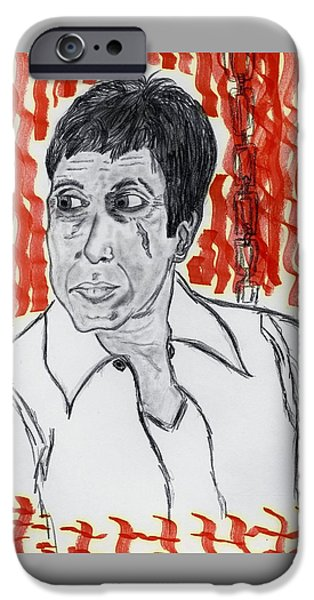 Al Pacino Drawings iPhone Cases - Im not Playing iPhone Case by Nicole Burrell
