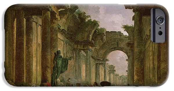 Sculpture iPhone Cases - Imaginary View Of The Grand Gallery Of The Louvre In Ruins, 1796 Oil On Canvas iPhone Case by Hubert Robert
