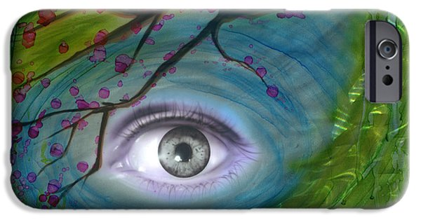 Third Eye Paintings iPhone Cases - Imagined iPhone Case by Luis  Navarro