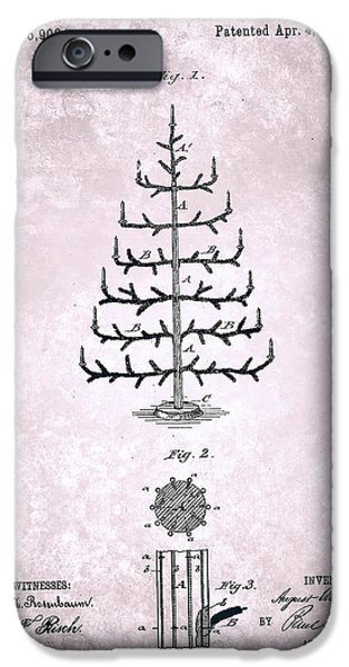 Imitation iPhone Cases - Imitation Christmas Tree Patent From 1882 iPhone Case by Celestial Images