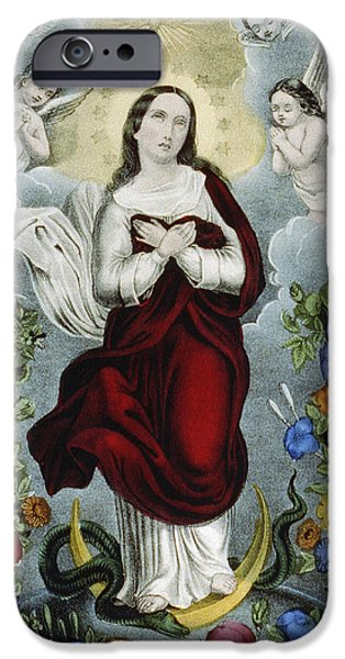 Royalty iPhone Cases - Immaculate Conception Circa 1856  iPhone Case by Aged Pixel