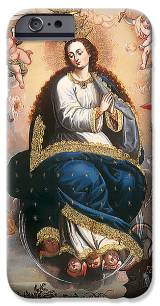 Serpent iPhone Cases - Immaculate Virgin Victorious over the Serpent of Heresy iPhone Case by Mountain Dreams