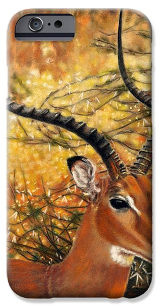 Yellow Pastels iPhone Cases - Impala At Sunset iPhone Case by Carol McCarty