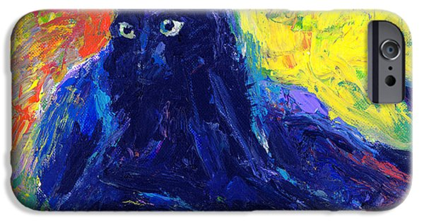 Black Portrait Drawings iPhone Cases - Impasto Black Cat painting iPhone Case by Svetlana Novikova
