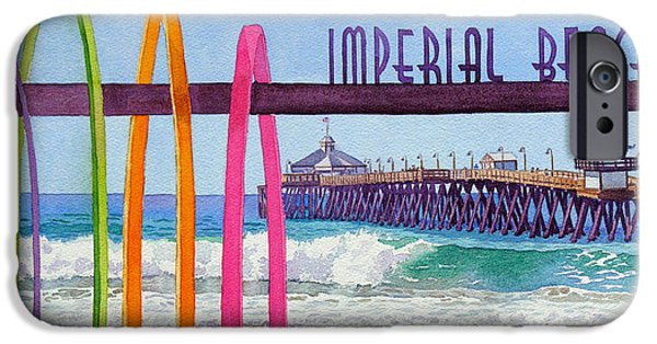 Waves Paintings iPhone Cases - Imperial Beach Pier California iPhone Case by Mary Helmreich