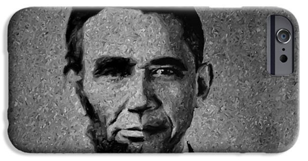 Barack Obama iPhone Cases - Impressionist Interpretation of Lincoln Becoming Obama iPhone Case by Michael Braham