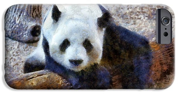 Tuan iPhone Cases - Impressionist Panda iPhone Case by Daniel Eskridge