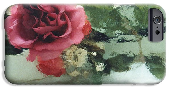 Abstract Digital Photographs iPhone Cases - Impressionistic Abstract Green and Pink Rose iPhone Case by Kathy Fornal
