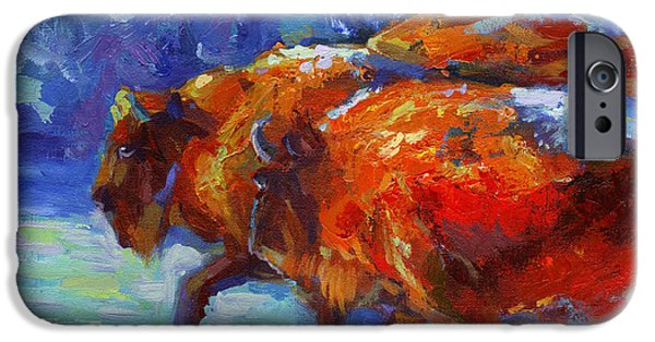 Mood Paintings iPhone Cases - Impressionistic Buffalo painting iPhone Case by Svetlana Novikova