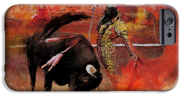 Culture Paintings iPhone Cases - Impressionistic Bullfighting iPhone Case by Corporate Art Task Force