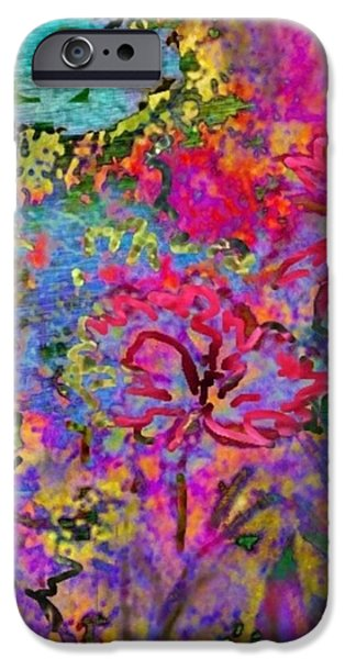 Splashy Digital Art iPhone Cases - Impressionistic Magenta Hibiscus - Vertical iPhone Case by Lyn Voytershark
