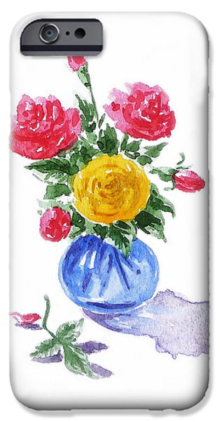 Rose iPhone Cases - Impressionistic Roses iPhone Case by Irina Sztukowski
