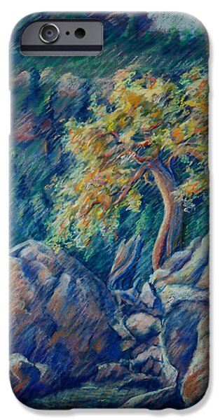 Impression Pastels iPhone Cases - Impressions of a Tree iPhone Case by Mary Knape