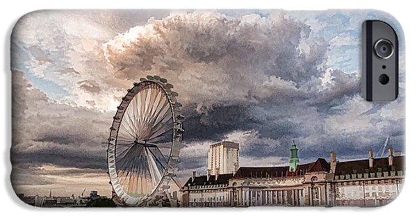 Turbulent Skies iPhone Cases - Impressions of London - London Eye Dramatic Skies iPhone Case by Georgia Mizuleva