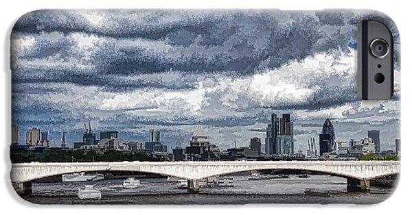 Turbulent Skies iPhone Cases - Impressions of London - Stormy Skies Skyline iPhone Case by Georgia Mizuleva
