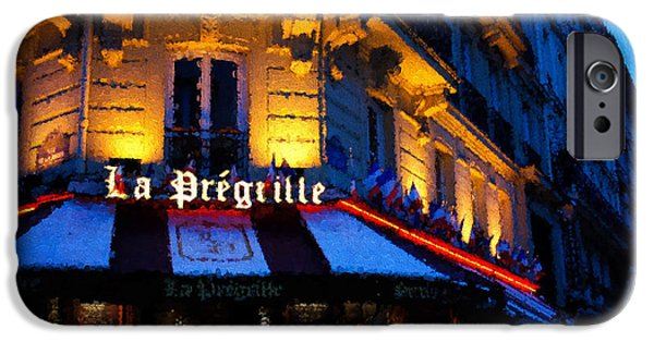 Night Lamp iPhone Cases - Impressions of Paris - Latin Quarter Night Life iPhone Case by Georgia Mizuleva