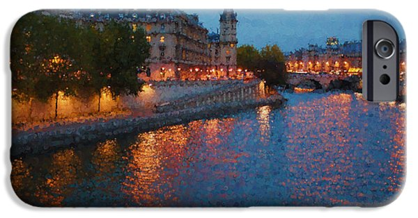 Night Lamp iPhone Cases - Impressions of Paris - Shimmering Seine River at Night iPhone Case by Georgia Mizuleva