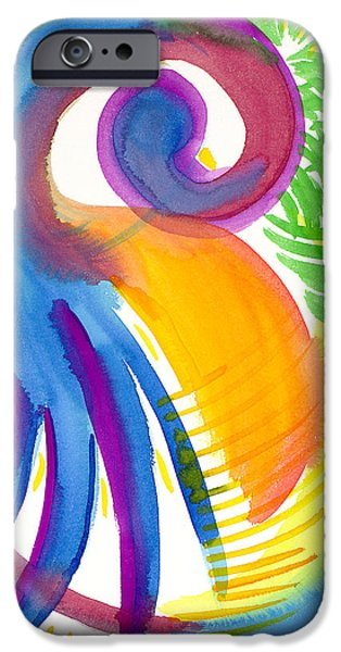 Sun Rays Paintings iPhone Cases - Impressions of Tropics iPhone Case by Sara Srubar-Erb