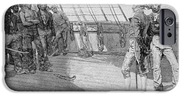 Board iPhone Cases - Impressment Of American Seamen, Illustration From Our Countrys Cradle By Thomas Wentworth iPhone Case by Howard Pyle