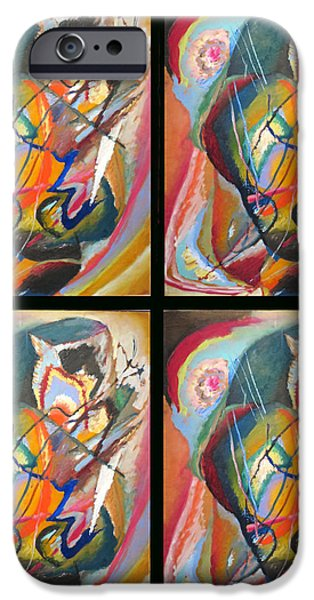 Bed Spread iPhone Cases - Improvisation III Collage iPhone Case by Wassily Kandinsky