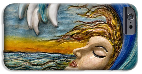 Abstract Seascape Sculptures iPhone Cases - In a Wave iPhone Case by Suzette Kallen
