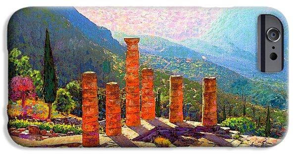 Ancient Ruins iPhone Cases - In Awe of Delphi iPhone Case by Jane Small