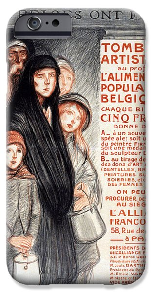 Finance iPhone Cases - In Belgium The Belgians Are Hungry, 1915 iPhone Case by Theophile Alexandre Steinlen