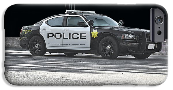 Police Car iPhone Cases - In Black and White iPhone Case by Dave Koontz