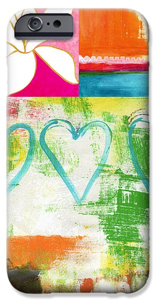 Floral Art iPhone Cases - In Bloom- colorful heart and flower art iPhone Case by Linda Woods
