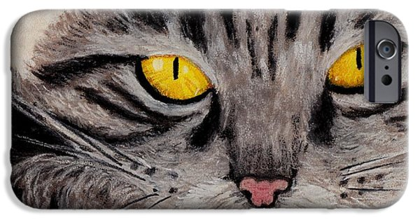 Yellow Pastels iPhone Cases - In Cats Eyes iPhone Case by Anastasiya Malakhova