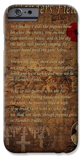 Recently Sold -  - Ww1 iPhone Cases - In Flanders Fields 2 iPhone Case by Andrew Fare