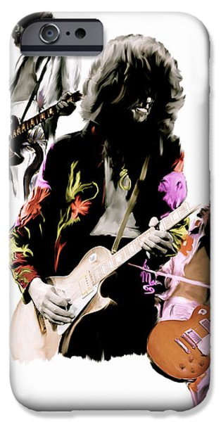Art By God iPhone Cases - In Flight  Jimmy Page  iPhone Case by Iconic Images Art Gallery David Pucciarelli