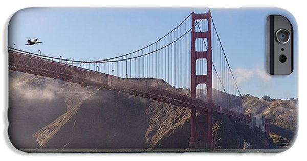 Sun Breaking Through Clouds iPhone Cases - In Flight over Golden Gate iPhone Case by Scott Campbell