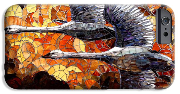 Swans... Glass Art iPhone Cases - In Flight iPhone Case by Sandra Bryant