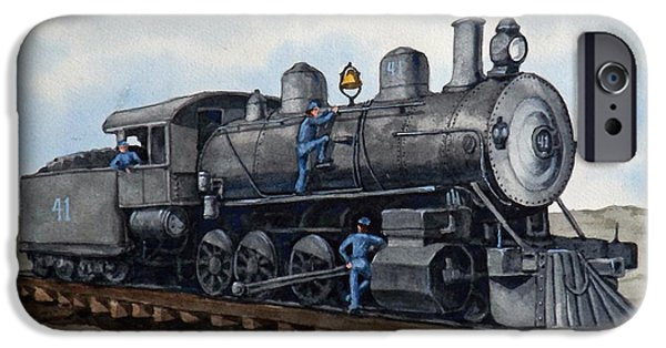 Transportation Ceramics iPhone Cases - In For Maintenance - Engine 41 iPhone Case by Dan Krapf