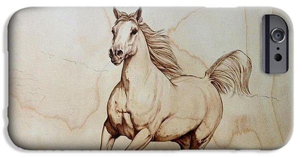 Arabian Pyrography iPhone Cases - In Galop iPhone Case by Adin Begic