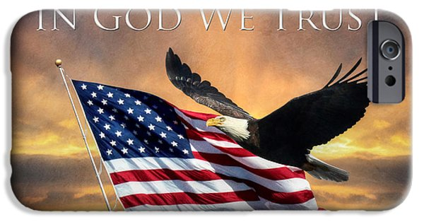 Old Glory Digital iPhone Cases - In God We Trust iPhone Case by Lori Deiter