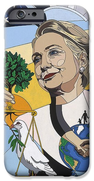 Statue Of Liberty Paintings iPhone Cases - In honor of Hillary Clinton iPhone Case by Konni Jensen